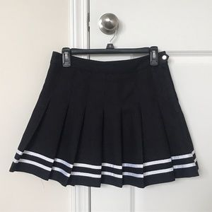 Black Mini Skirt with White Stripe